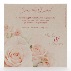 Save the date kaartje Pink rose - 724533