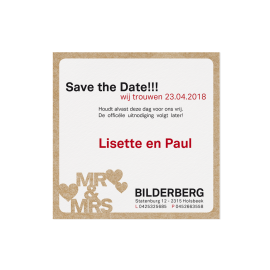 Save the date passend bij de hippe trouwkaart met trendy typografie